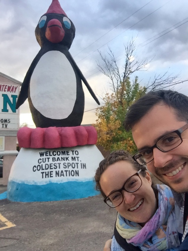Cut Bank, Montana claims to be the the coldest spot in the USA. However, a quick google search shows that a few communities like to make the same claim, but Cut Bank is the only one with a cool penguin statue.