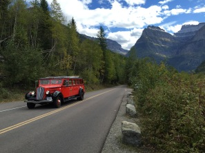 The famous Red Buses on Going-to-the-Sun Road in Glacier National Park.