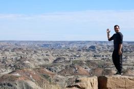 Adam waving in Dinosaur Provincial Park.