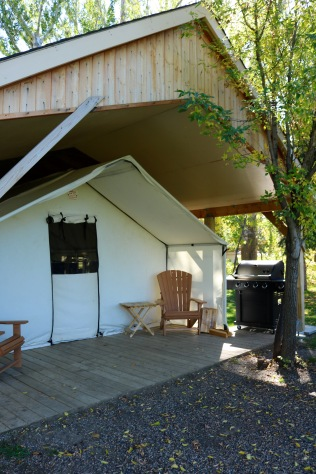 Our comfort camping site a.k.a. glamping (glamorous camping) in Dinosaur Provincial Park.