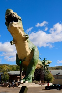 "The ""World's Largest Dinosaur"" is the name of a model Tyrannosaurus rex located in the town of Drumheller."