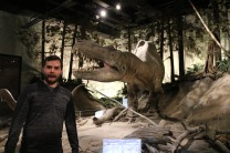 Adam scared at the Royal Tyrrell Museum of Palaeontology.