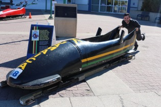 "Adam ""pushing"" the actual Jamaican bobsled that was used in the Disney movie Cool Runnings (Adam's favourite movie of all time)."