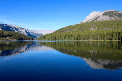 View of Two Jack Lake from our campsite in Banff National Park.