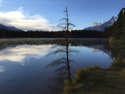 Mist in the morning on Two Jack Lake in Banff National Park.