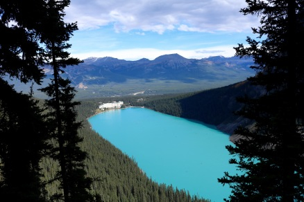 Look how tiny the massive Fairmont Chateau Lake Louise looks from our hike on the mountain!
