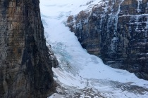 Beautiful and up close view of the Victoria Glacier at the end of the Plain of Six Glaciers trail in Banff National Park.