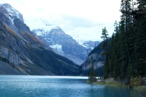 Lake Louise in the evening in Banff National Park.