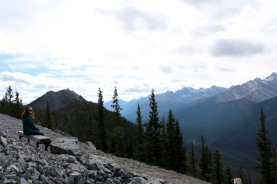 Amanda enjoying the view from the top of Sulphur Mountain in Banff National Park.