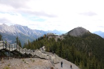 Banff Gondola building and Summit Ridge boardwalk at the top of Sulphur Mountain in Banff National Park.