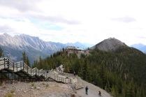 Banff Gondola building and Summit Ridge boardwalk at the top of Sulphur Mountain in Banff National Park.