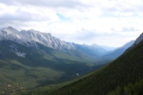 View from the Banff Gondola ride to the top of Sulphur Mountain in Banff National Park.