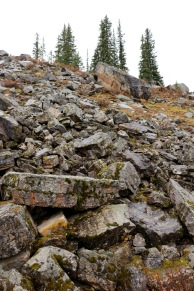 The rock pile next to Rock Pile trail at Moraine Lake in Banff National Park. This rock pile is glacial debris illustrating the impressive power of glacial waters!