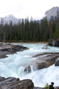Beautiful rapids of the Kicking Horse River flowing toward the natural bridge in Yoho National Park, BC.