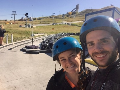 Our post-luge selfie at Canada Olympic Park, Calgary.