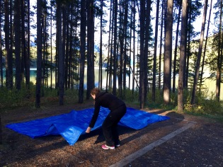 Setting up the tent at our campsite at Two Jack Lakeside, Banff NP.