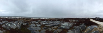 The rocky landscape along the shores of Churchill, Manitoba