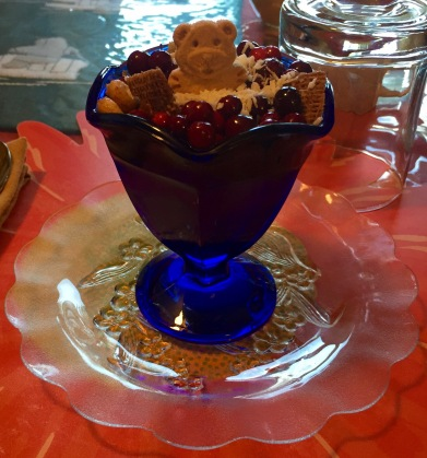 Fun and delicious yogurt for breaky at the Bluesky Bed & Sled!
