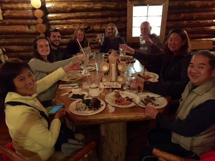 Dinner with our kind hosts and roomies at the Lazy Bear Lodge in Churchill, MB.