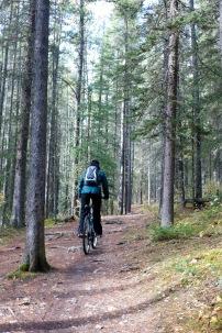 Amanda riding on a trail on Lake Minnewanka in along National Park.