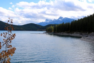 View from our bike ride along Lake Minnewanka in Banff National Park.
