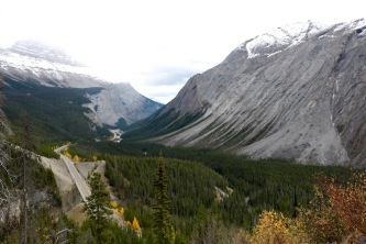 "View of the Icefields Parkway winding through the valley after the ""Big Bend"" atop the ""Big Hill""."