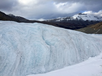 Up close shot of the beautiful Athabasca Glacier in the Columbia Icefield.