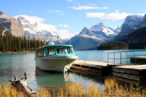 The boat that took us on Maligne Lake to see Spirit Island in Jasper National Park.