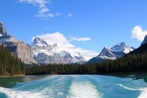 Beautiful views on Maligne Lake in Jasper National Park.