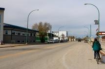 Amanda biking in The Pas, Manitoba.