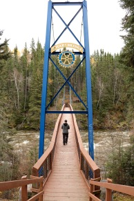 The suspension bridge in Pisew Falls Provincial Park, Manitoba