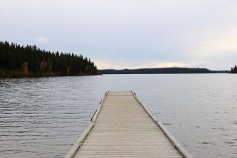 The dock at Paint Lake in Paint Lake Provincial Park, Manitoba