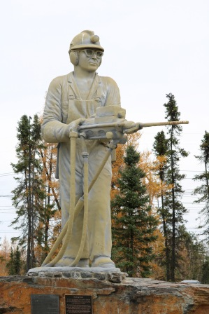 This is the King Miner statue in Thompson to commemorate the hard work of the local miners.