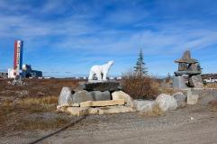 Manitoba Arctic Seaport Sign - Polar Bear Statue and Inukshuk, Churchill, MB
