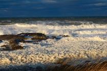 The foaming shoreline of Hudson Bay, Churchill, Manitoba