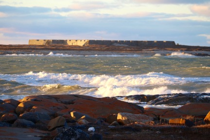 View of the Prince of Wales Fort in the distance from Cape Merry (notice a small furry friend in the foreground?)