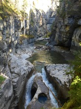 Water rushing through Maligne Canyon in Jasper National Park.