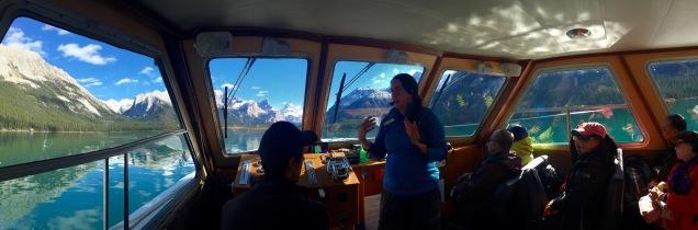 Inside our boat on Maligne Lake in Jasper National Park.