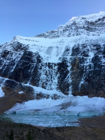 Icebergs in Cavell Pond from the Angel Glacier on Mount Edith Cavell in Jasper National Park.