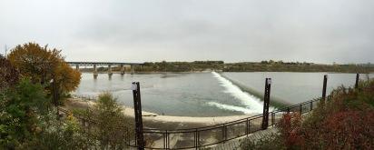 South Saskatchewan River along the The Meewasin Trail in Saskatoon, Saskatchewan.