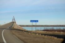 This bridge (known as the Deh Cho Bridge) crosses over the Mackenzie River which is the longest and largest river system in Canada. Before this bridge was built in 2012, there was no official road access to Yellowknife. They used to have to take a ferry or ice road across the river which meant during a handful of weeks during freezing and break up, travellers were restricted to flying in or out of the city. This also made the cost of goods in the city much more pricey than they are today. Thank you, Deh Cho Bridge!