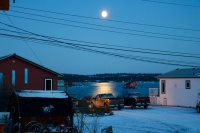 Moonshine over Houseboat Bay - the view from the front porch of our cabin.