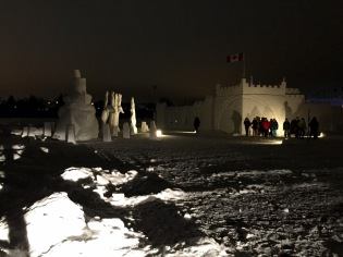 The line-up outside the snowcastle for Castle Comedy Night starring Yellowknife's own Alex Sparling