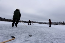 Playing hockey at Aurora Village