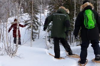 Snowshoeing at Aurora Village