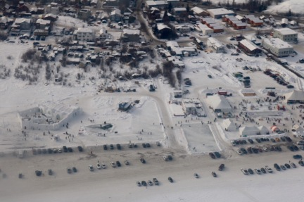 Aerial view of the Long John Jamboree and the Snowking Castle