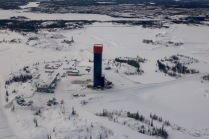 Aerial view of the Robertson headframe at the former Con Mine - this first gold mine in NWT