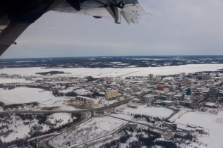 Aerial view of Yellowknife from the ski plane