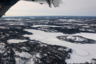 Aerial view of the networks of ice/winter roads around Yellowknife