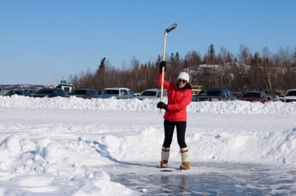 The Northern Putting Challenge - where the putter is a hockey stick and the green is the ice of Great Slave Lake!